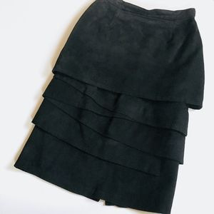 Vintage suede tiered pencil skirt | made in Spain
